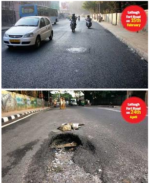 Image courtesy - http://www.bangaloremirror.com/bangalore/civic/Single-spell-of-rain-punches-potholes-in-Rs-2-75-cr-road/articleshow/47043791.cms